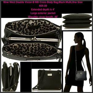 Nine West Double Vision B MD Cross Body Bag,Black