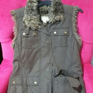 Army Green Utility Fur Lined Vest