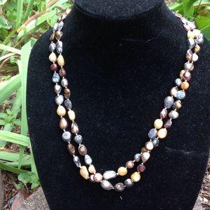 Freshwater  pearls. Warm tones