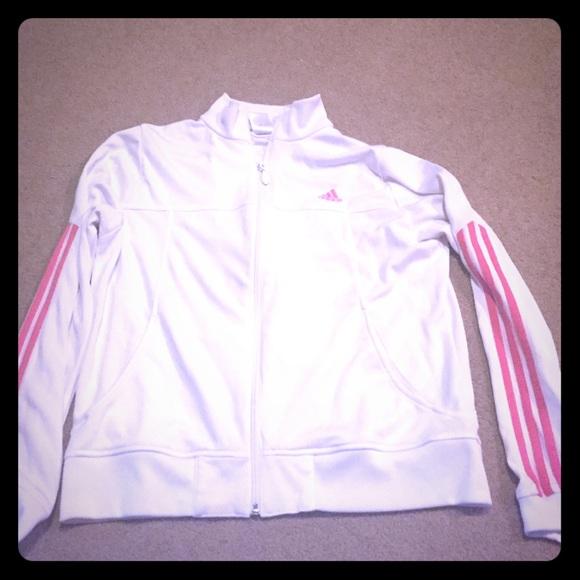 a16f5f56271 Adidas Jackets & Coats | White And Pink Track Jacket | Poshmark