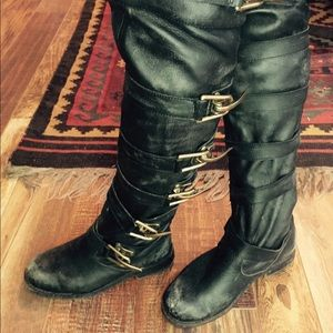 Black Knee high distressed LEATHER boots fits tts