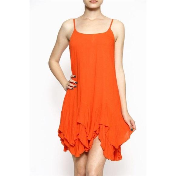 c9ac8852fe2 Orange Slip Ruffle Dress