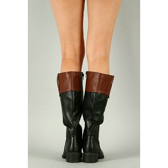 refresh black brown two tone knee high boot 8