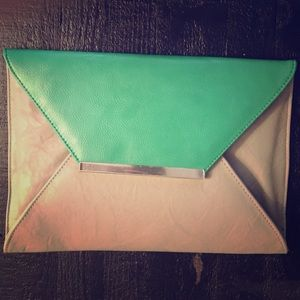 NWT Green and Gray Distressed Envelope Clutch