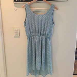 cd93497a4242 ... NWOT blue and white polka dot dress M