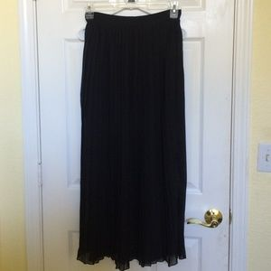 Sheer Pleated Black Maxi Skirt