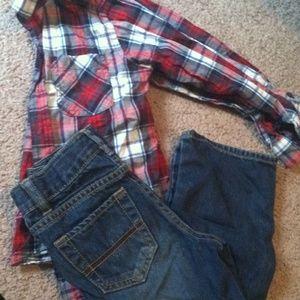 Jeans and longsleve button up, bundle
