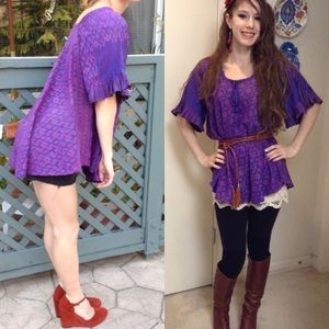 Vintage Tops - Vintage Thai Silk Bohemian Purple Tunic