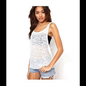 White Knit 'Sheer Perfection' Racerback Tank Top