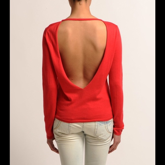 88% off Maje Sweaters - Maje red open back sweater from Alexis🎀's ...