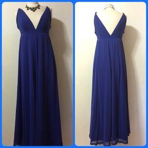 Spiegel Dresses & Skirts - V neck and V Back Maxi Dress in Purple Bluish colo