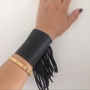 Heather Gardner Accessories - Heather Gardner Black Leather Fringe Cuff