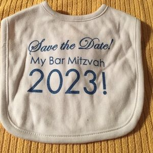 Sara Kety Other - Save the Date Bar Mitzvah Bib 2023 NWT gift idea