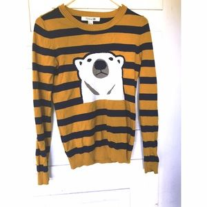 F21 Polar Bear Striped Sweater