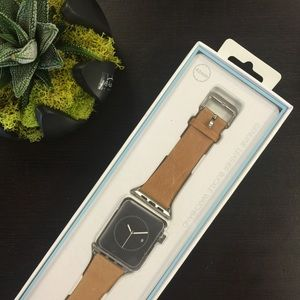 Tan Genuine Leather 42mm Apple Watch Strap