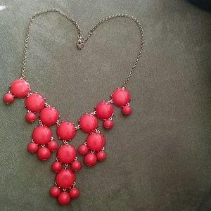 Coral bubble statement necklace