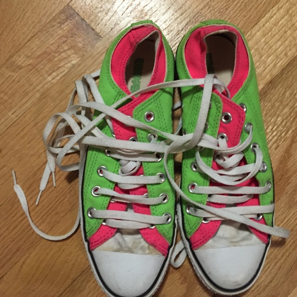 2fc2ddc4c15 Converse Shoes - Like new neon pink and lime green converse!