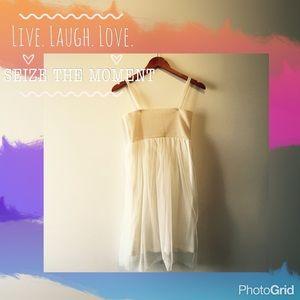 White knit/tulle dress - convertible to midi skirt