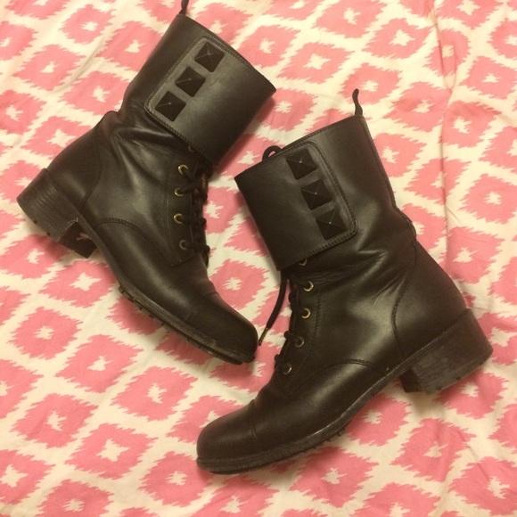 9bcb0034d22 Valentino Shoes | Rockstud Combat Boots 38 Black Boot | Poshmark