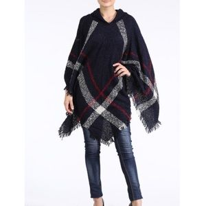 "Bare Anthology Jackets & Blazers - ""Romance"" Plaid Poncho Hoodie Cape"