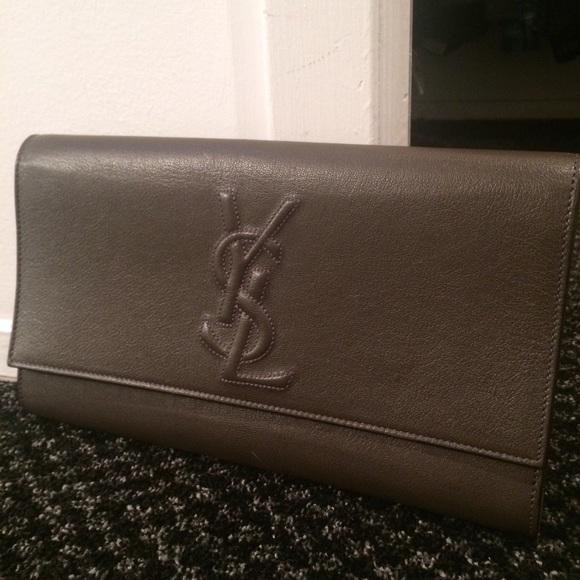 99130d35a84 Yves Saint Laurent Bags | Ysl Leather Slate Grey Clutch | Poshmark