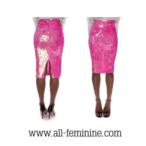 All Feminine - Pink Sequin Pencil Skirt from All feminine's closet ...