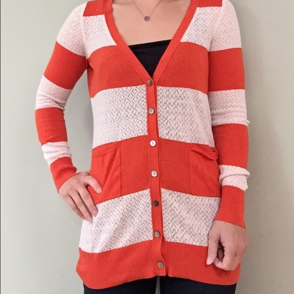 Anthropologie - Anthro Cream & Orange Striped Cardigan from ...