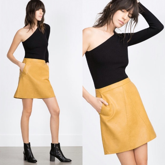 55% off Zara Dresses & Skirts - ZARA faux Leather skirt mustard ...