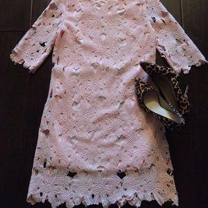 Crochet & lace dress in blush! Never worn