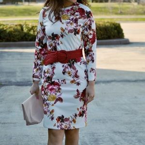 Red floral long sleeve dress. Worn once!