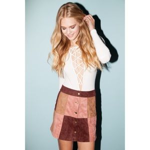Bang Bang Suedette Patchwork Button-Up Skirt