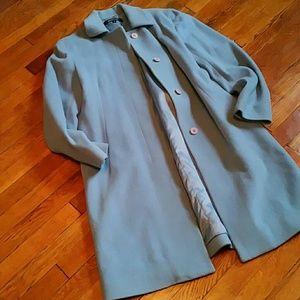 DKNY powder blue wool car coat