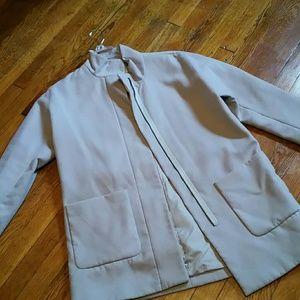 OLD NAVY banded collar taupe coat
