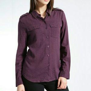 gingham ruffle plaid utility button down shirt