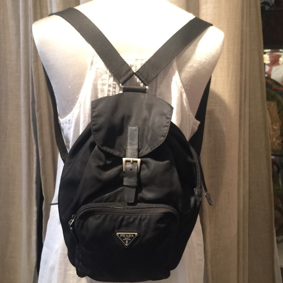 c22d5c197db101 Prada Mini Black nylon and leather backpack. M_55f46de46ba9e63f1b00b335