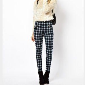 ASOS High Riser Plaid Skinny Pants size 0