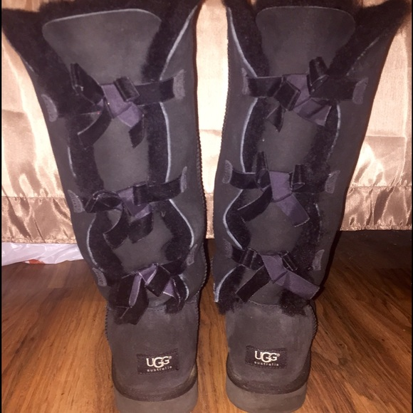 Black Tall Bailey Bow UGG boots