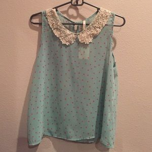 Laced collar, polka dotted tank