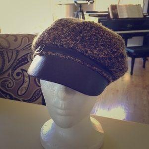 FINAL SALE! Wool Boucle Newsie Style Brown Hat
