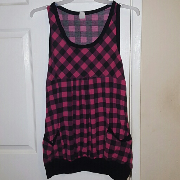 Toto collection Tops | Hot Pink Checkered Top | Poshmark