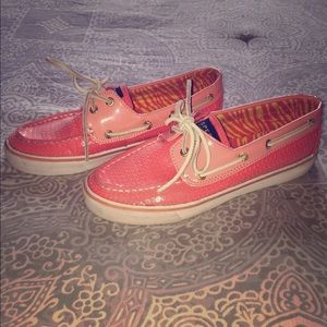 Sperry Top-Sider Shoes - Coral sequin sperry boat shoes size 7