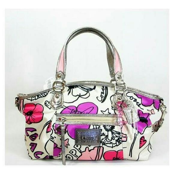 coach bags poppy petal print rocker purse 16308 poshmark rh poshmark com