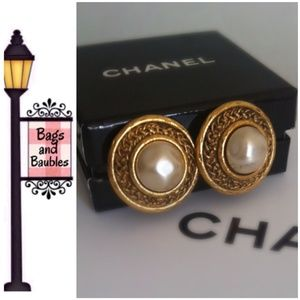 Vintage CHANEL Faux Pearl Clip Earrings