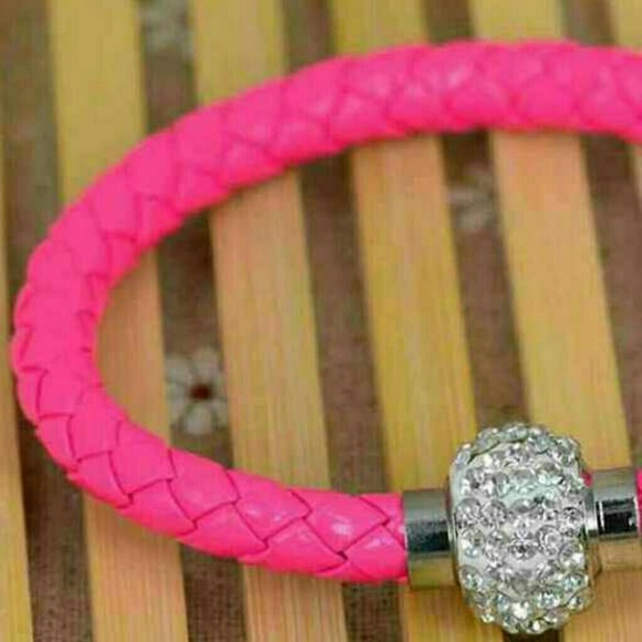 14 off jewelry pink leather braided bracelet from kirk