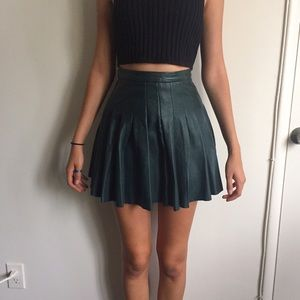 ALL SAINTS Green Leather Pleated Skirt