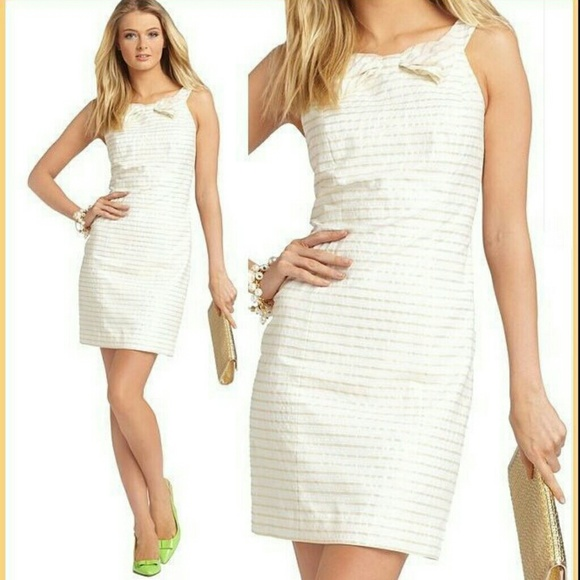 White and gold stripe dress