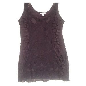 Charlotte Russe Black lace and ruffled tank top