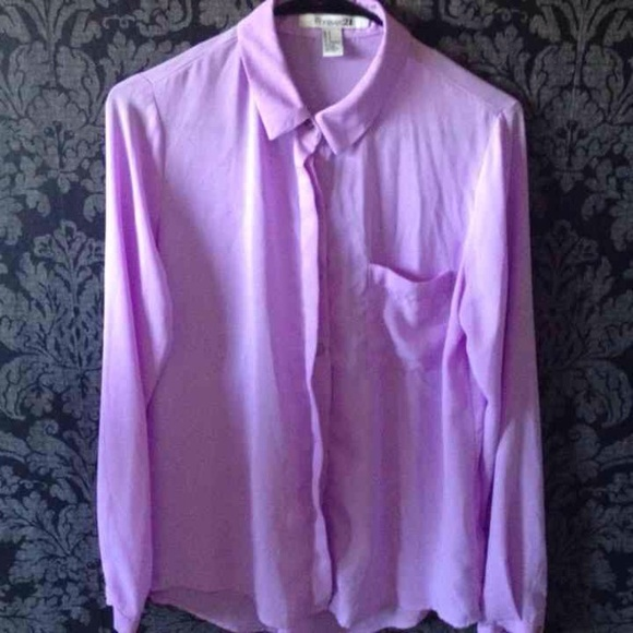 0937b18637fa65 Forever 21 Tops | Pastel Purple Long Sleeve Button Up Dress Shirt ...