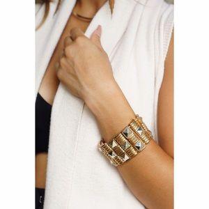 Etched Studded Bracelet Cuff