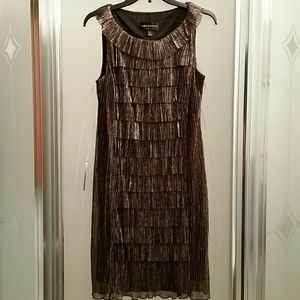 Connected Apparel  Dresses & Skirts - Gorgeous gold metallic look tiered dress.